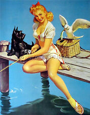 Antique 8X10 Photograph Print Pretty Woman Fishing Off A Dock # 6