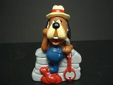 VINTAGE OLD DOG WITH RED GUITAR PIGGY BANK FIGURE