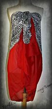 "Wild Zebra Print With Red Sarong Wrap, 65"" x 34.5"" NEW IN BAG"
