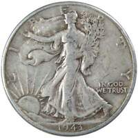 1943 S Liberty Walking Half Dollar F Fine 90% Silver 50c US Coin Collectible