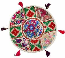 "White 17"" Handmade Round Cushion Pillow Cover Floor Throw Tapestry Indian Decor"