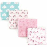 Luvable Friends Girl Flannel Receiving Blankets, 4-Pack, Unicorn