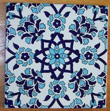 "Blue & White 8""x8"" (20cmx20cm) Turkish Iznik Carnation & Daisy Ceramic Tile"