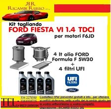 Kit tagliando filtri UFI + 4Lt Olio FORD 5W30 FORD FIESTA VI 1.4 TDCI