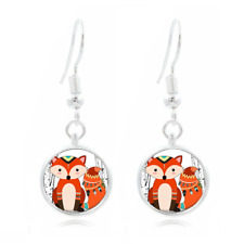 Whimsical Fox Tibet Silver Dome Photo 16MM Glass Cabochon Long Earrings #141
