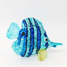 Blue Fish Figurine Marine Animal Hand Blown Glass Hand Painted
