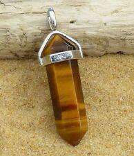 Tiger's Eye Quartz Point PENDANT Necklace Crystal Gemstone Reiki Jewelry