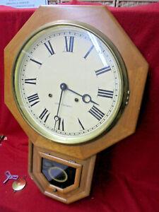 Later Made Seth Thomas Style Striking 8 Day Schoolhouse Regulator Wall Clock