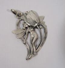 Originaler antiker Jugendstil Anhänger aus Zinn um 1910 Elfe Tulpe Blume Libelle