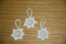 3 x HANDMADE CROCHET WHITE sparkly SMALL SNOWFLAKE CHRISTMAS DECORATIONS