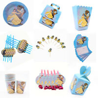 Beauty and The Beast Birthday Party Supplies Bag Tableware Plates Napkin Belle