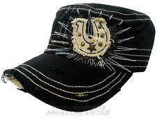 KB Ethos Lucky Horse Shoe Distress Cadet Cap Black Hat