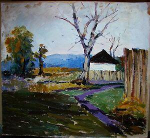 Russian Ukrainian Soviet Oil Painting Landscape hut tree impressionism realism