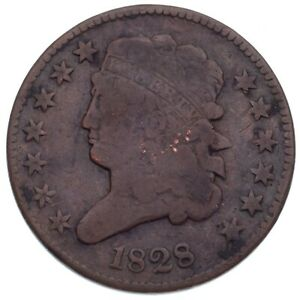 1828 13 Stars Half Cent Good Condition Brown Color, Full Rims