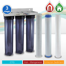 """3 Stage 20"""" x 2.5"""" Iron Manganese Whole House Water Filter System Clear housings"""