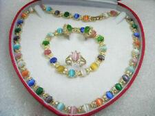 Set Ladies Opal 18K Gold Plated Necklace Bracelet Earring Ring Women Jewelry
