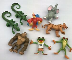 """Rainforest Cafe Animals Lot of 8 Posable Figures RFC (2000) Cake Toppers 3-4"""""""