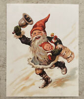 Postcard ~ 11X14cm Christmas Gnome Running With Bell & Baby