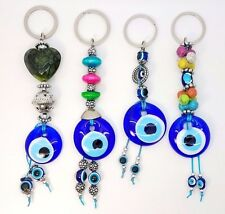 Set Four Blue Evil Eye Glass Keychain Ring Turkish Nazar Good Luck Charm Amulet