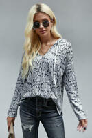 Snake Print Boxy Fit Light Knit Drawstring V Neck Long Sleeve Hoodie X-LARGE