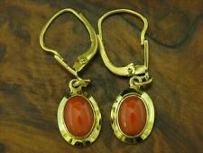 8kt 333 Yellow Gold Earrings with 1,00ct Coral Decorations/Earrings/2,0g