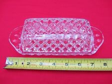 VTG CHECKERED CHECKED CLEAR GLASS BUTTER DISH TRAY LID COVERED MID CENTURY FANCY
