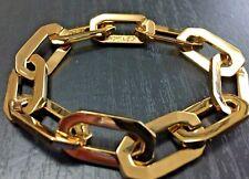 "Rachel Zoe Art Deco Paperclip Bracelet Yellow Gold Plated 7.75"" STUNNING!"