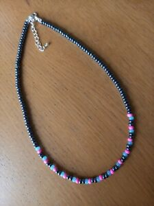 Black pink blue glass seed bead necklace ~  hippy love beads