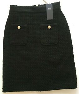 M&S Black Boucle Straight Skirt RRP £39.50 in sizes 6 or 14