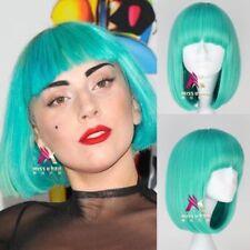 Lady Gaga Style Wig Short Straight Bluish Color Women Fashion Anime Cosplay wig