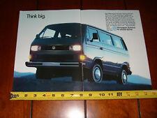 1987 VW VOLKSWAGEN VANAGON - ORIGINAL 2 PAGE AD