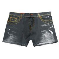 Men Denim Fake Jeans Print Cotton Boxer Briefs Underwear Underpants Sanwood
