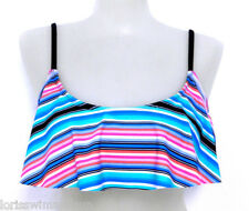 Raisins Junior Extra Large Black Striped Bikini Swimsuit TOP NWT XL