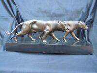 Sculpture couple pantheres stylisees epoque art deco 1930 dlg max le verrier