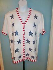 Quacker Factory White Short Sleeve Sweater Stars Stripes Flag Sequins Size 1X
