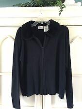 Kathie Lee Size XL 16/18 Vintage Black Cardigan Full Zipper w/ Faux Fur Collar