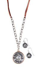 NEW! Western Necklace - Silver 12 Gauge Shell Leather Strap - Crystal & Earrings
