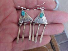 Vintage Silver & Turquoise Hand Stamped Earrings D. Skeets