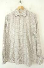 PAL ZILERI Mens Size 17 43 White & Brown Plaid Button Down Dress Shirt