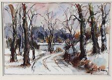 Aquarelle Paul Féron vers 1950 paysage d'hiver