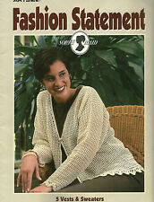 Fashion Statement Crochet Patterns Leaflet 5 Vests & Sweaters For Cotton Thread