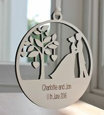Personalised Wedding gift wood decoration Mr & Mrs made in the UK engraved