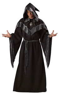 Dark Sorcerer Adult Mens Costume Scary Black Robe Magic Theme Party Halloween