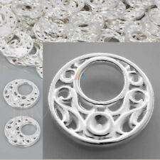10 x Silver Plated Filigree Round Circle Connectors Pendant Charms Embellishment