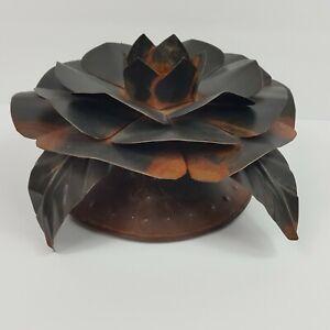 Jan Barboglio Metal Flower Candle Holder Artist Hand Crafted Metalware Primativ