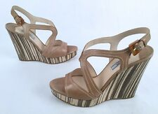 abe544850e7 PRADA Wood Bottom Platform Wedge Sandals- Size US 9  EU 39 - 799-