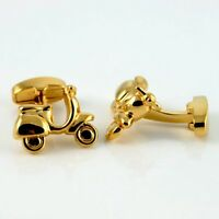 Scooter Cufflinks MOD's Motor Cycle Cuff Links GOLD-PLATED + Box. Birthday Gift