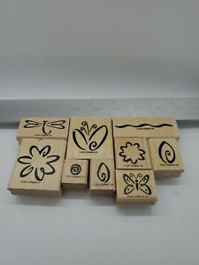 Stampin Up Fresh Flowers Rubber Stamp Set of 9 Two Step Stampin 2001 Butterfly