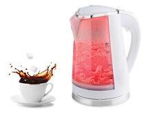 NUOVO Elettrico Portatile BOLLITORE LED Rosso Illuminato 1,7 l 360 ° Cordless Bianco