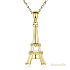 14K Yellow Gold Eiffel Tower Pendant Necklace 0.1 Ct Diamonds